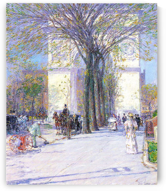 Washington triumphal arch in spring by Hassam by Hassam