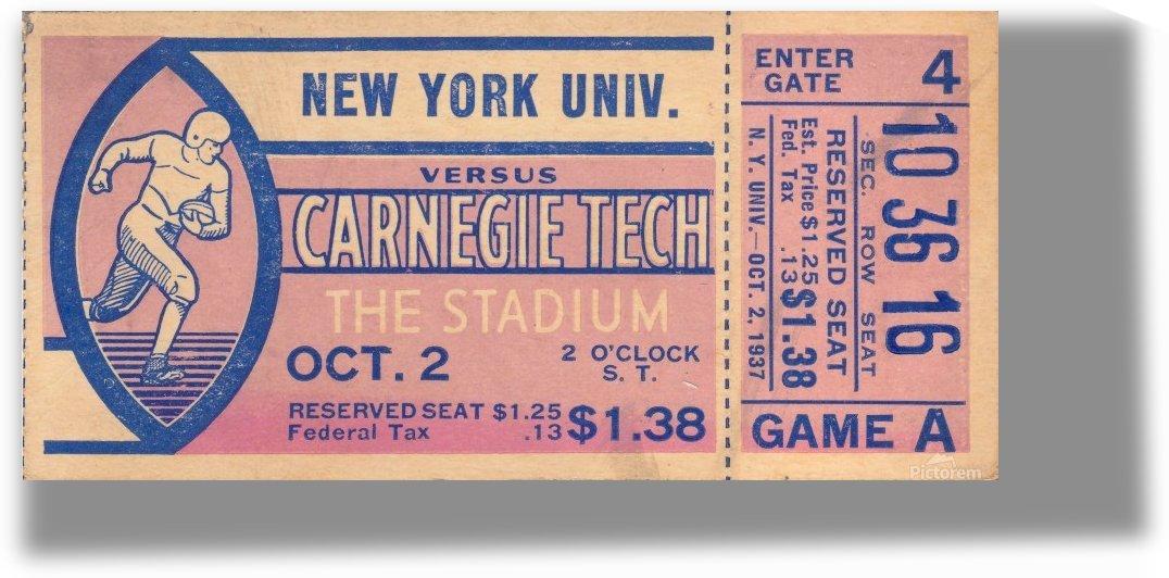 1937_College_Football_New York University vs. Carnegie Tech_Pitt Stadium_Pittsburgh Pennsylvania Tix by Row One Brand