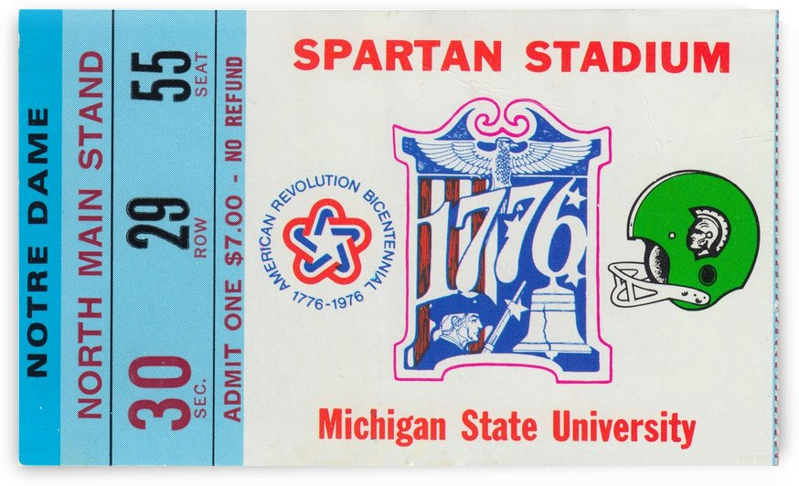 1976 College Football_Michigan State University vs. Notre Dame_Macklin Field East Lansing_Ticket Art (1) by Row One Brand