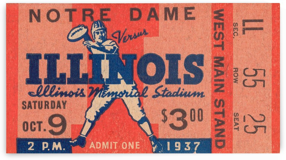 1937 Notre Dame vs. Illinois by Row One Brand
