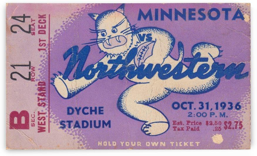 1936_College Football Art_Northwestern Wildcats vs. Minnesota_Historic Dyche Stadium_Evanston Ticket by Row One Brand