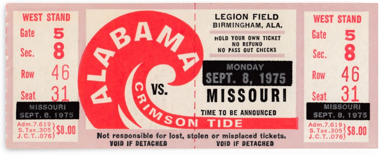 Old Alabama Football Ticket Stub Collection_1975 University of Alabama vs. Missouri Ticket Art by Row One Brand