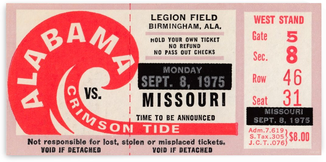 1975 College Football Ticket Collection_Alabama vs. Missouri_College Ticket Stub Art (1) by Row One Brand