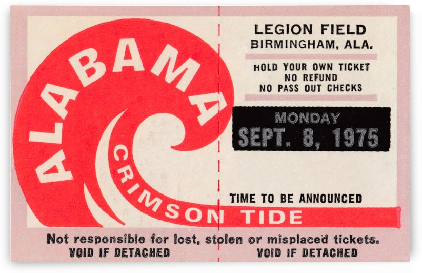 University of Alabama Crimson Tide Football Ticket Stub Art Poster by Row One Brand