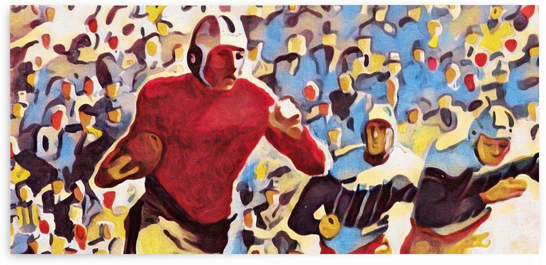 1937 Vintage Football Art Running Back Artwork by Row One Brand