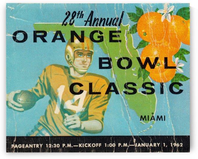 Football Ticket Stub Art 1962 Miami Florida Orange Bowl Tickets by Row One Brand