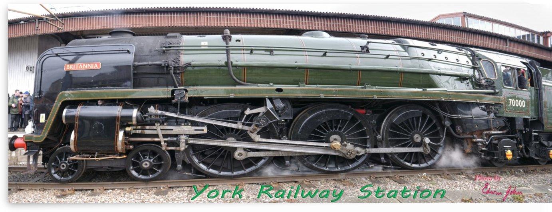 Britannia at York Station under steam by Edwin John