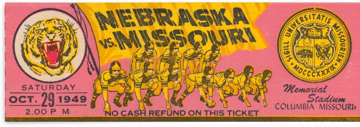 1949 College Football Ticket Stub Art_University of Missouri Football Art_Football Ticket Collection by Row One Brand