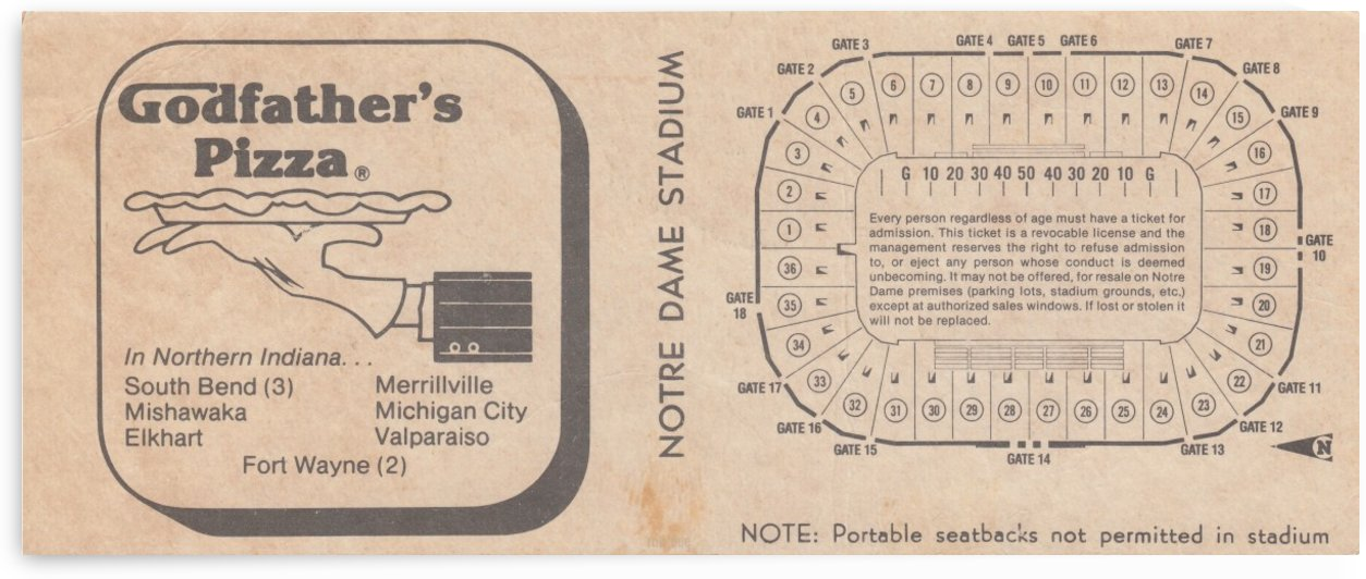 Retro Stadium Maps_Notre Dame Stadium Map_1982_South Bend Indiana Maps_Godfathers Pizza Ad_Artwork by Row One Brand