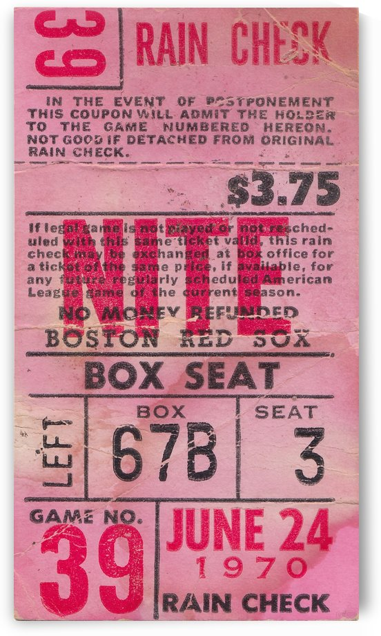 1970_Major League Baseball_Boston Red Sox Ticket Stub Art_Fenway Park Artwork_Red Sox vs. Orioles by Row One Brand