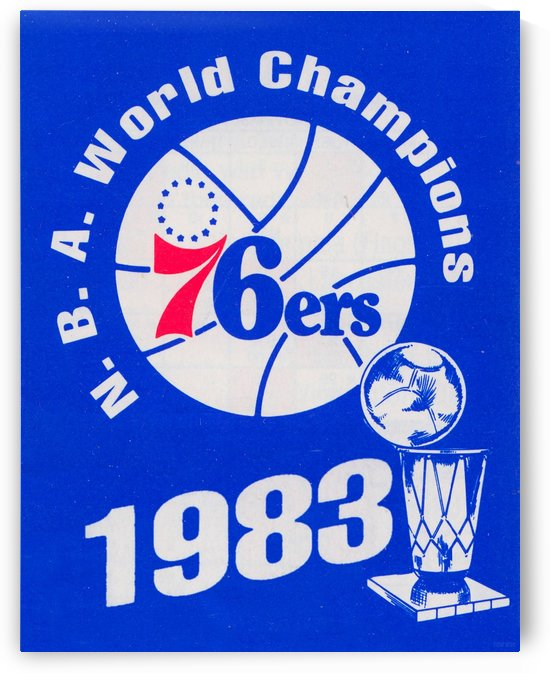 1983 NBA World Champions Philadelphia 76ers Art Reproduction 1 by Row One Brand