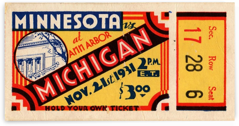 1931 Minnesota vs. Michigan by Row One Brand