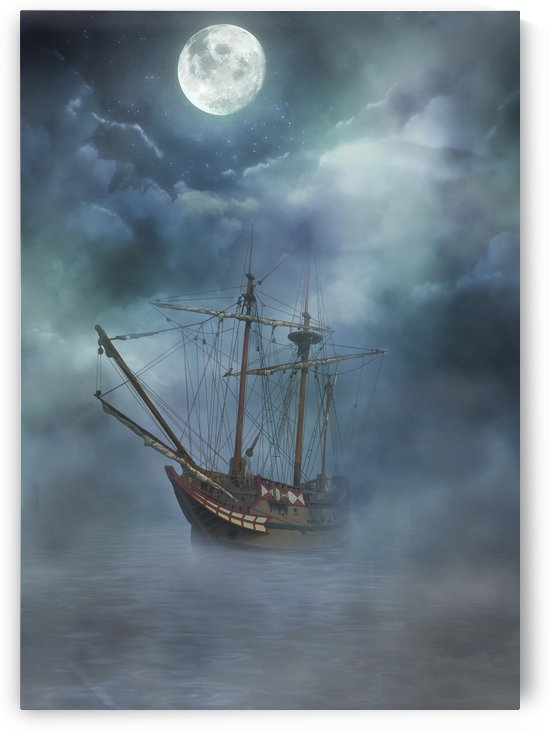 Foggy Sail Under Moon by Artistic Paradigms