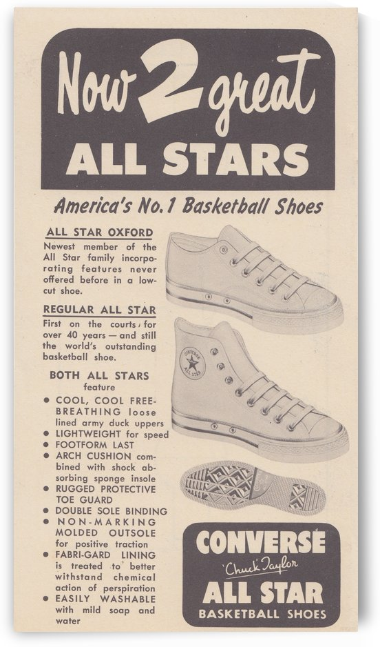1957 Converse All Star Oxford Shoe Advertisement Vintage Ad Reproduction Art by Row One Brand