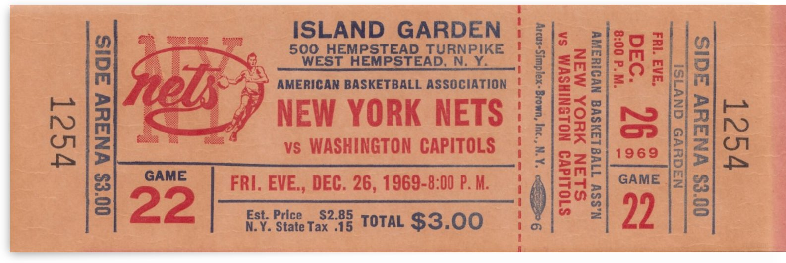 1969 ABA Basketball Season New York Nets vs. Washington Capitols Island Garden Ticket Stub Art by Row One Brand