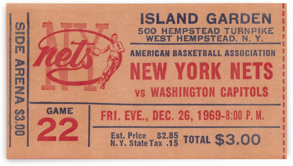 New York Nets Ticket Stub Basketball Art_Vintage Sports Wall Art by Row One Brand