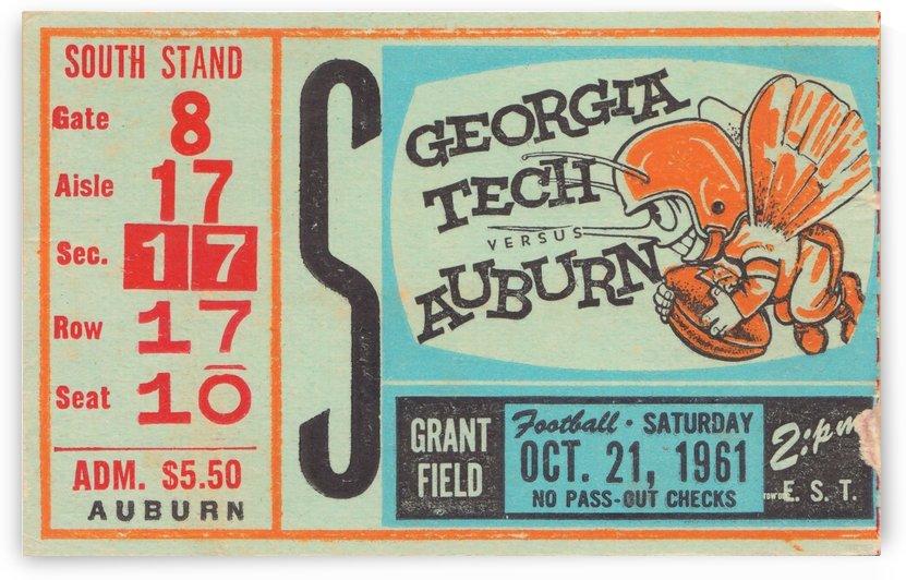 1961 Auburn vs. Georgia Tech College Football Ticket Stub Art Grant Field_College Art by Row One Brand