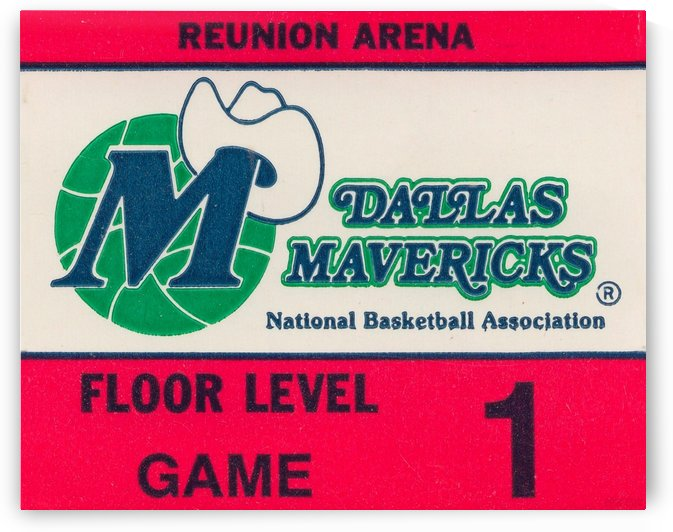 Vintage Dallas Mavericks Wall Art_Ticket Stub Artwork Reproduction by Row One Brand