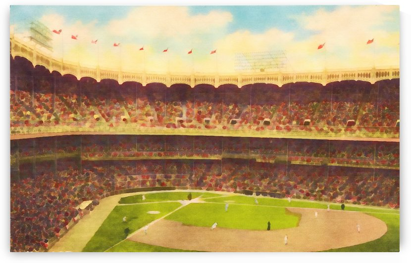 Vintage Baseball Stadium Watercolor Style Art_Unique Baseball Gifts by Row One Brand
