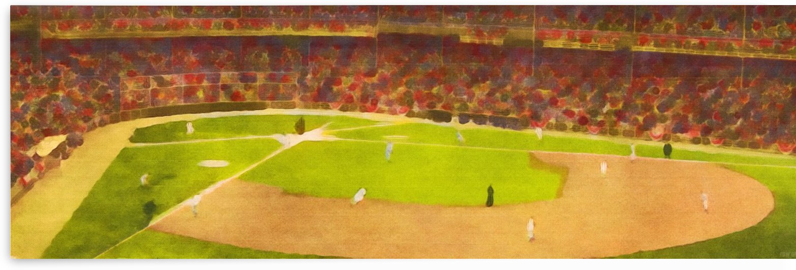 Abstract Baseball Stadium Watercolor Style Art_Unique Baseball Art by Row One Brand