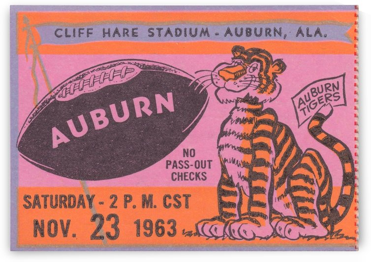 Auburn Tigers Football Ticket Stub Art Cliff Hare Stadium Wall Art Home Decor by Row One Brand