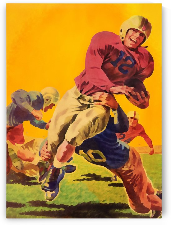 Vintage Football Art Print_Watercolor Football Art_Vintage Sports Artwork by Row One Brand