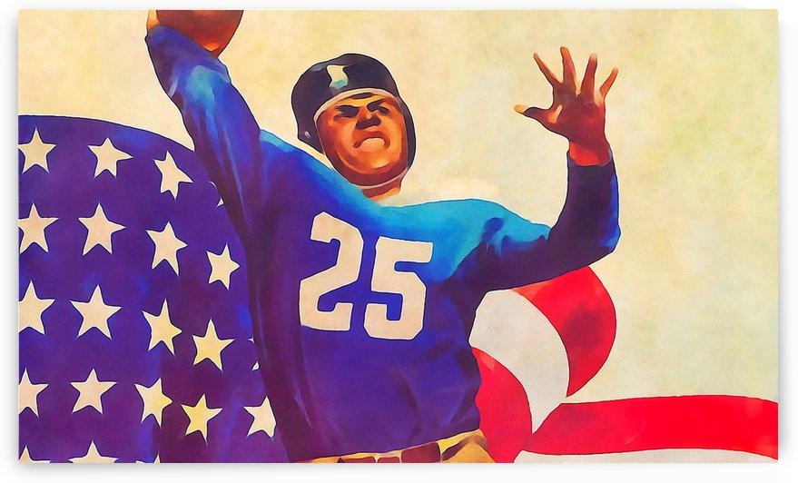 Patriotic Sports Art_Vintage Quarterback Art Print by Row One Brand