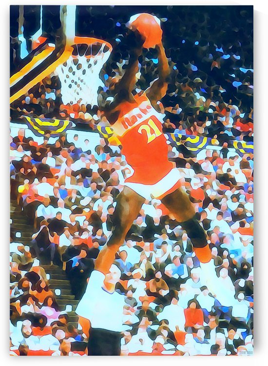 1984_National Basketball Association_Atlanta Hawks_Dominique Wilkins_Watercolor Style Sports Art by Row One Brand