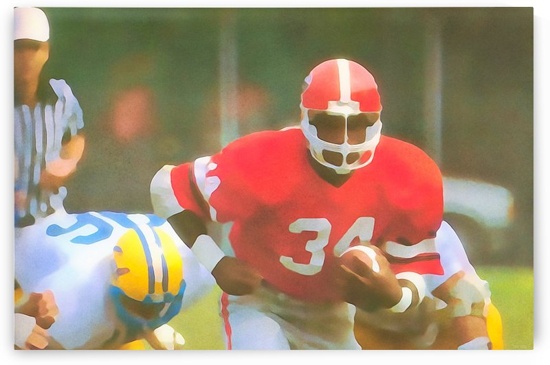 College Football Art_Georgia Bulldogs_Herschel Walker_Watercolor Style Football Art Poster Print by Row One Brand