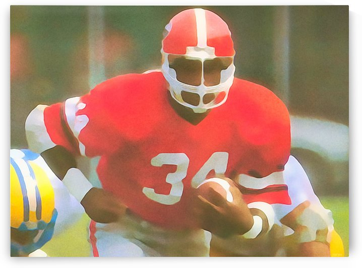 Star Player Football Art_Georgia Bulldogs Herschel Walker_Watercolor Style Football Poster Print by Row One Brand