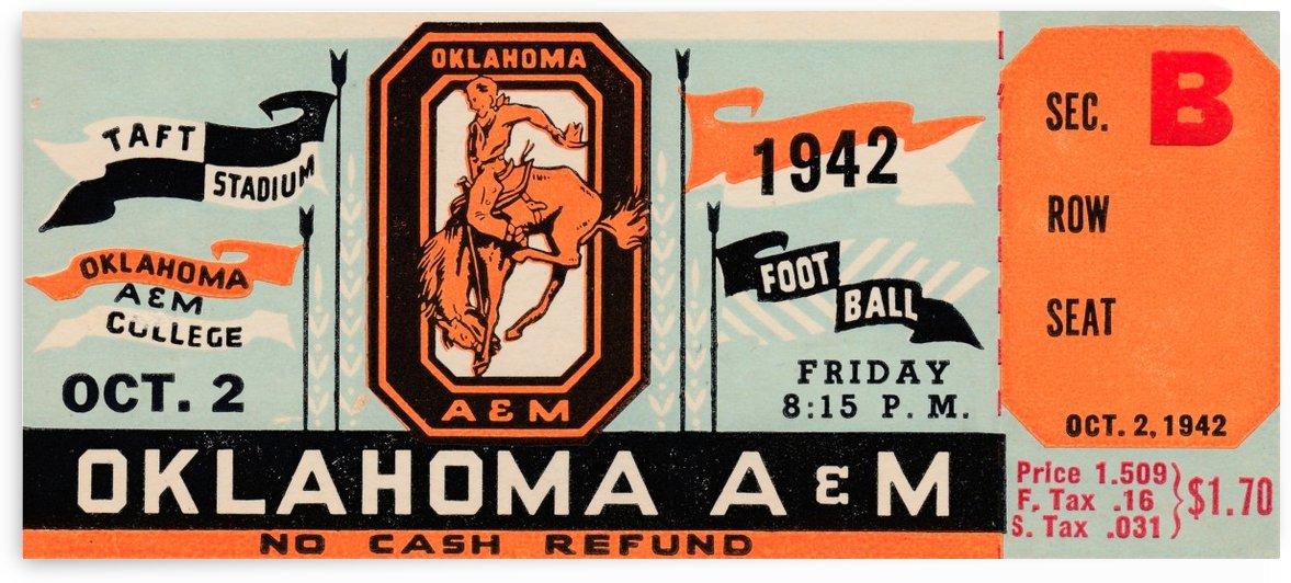 1942 Oklahoma A&M Aggies Football Ticket Art by Row One Brand