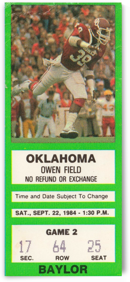 1984 College Football_Oklahoma vs. Baylor_Owen Field_Oklahoma Football Ticket Stub Art by Row One Brand