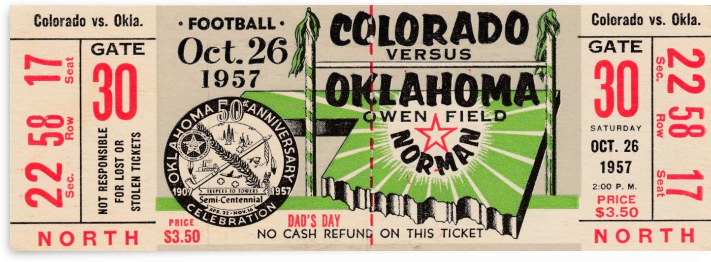 1957 College Football Season_Oklahoma Football vs. Colorado_Owen Field_College Football Ticket Art by Row One Brand