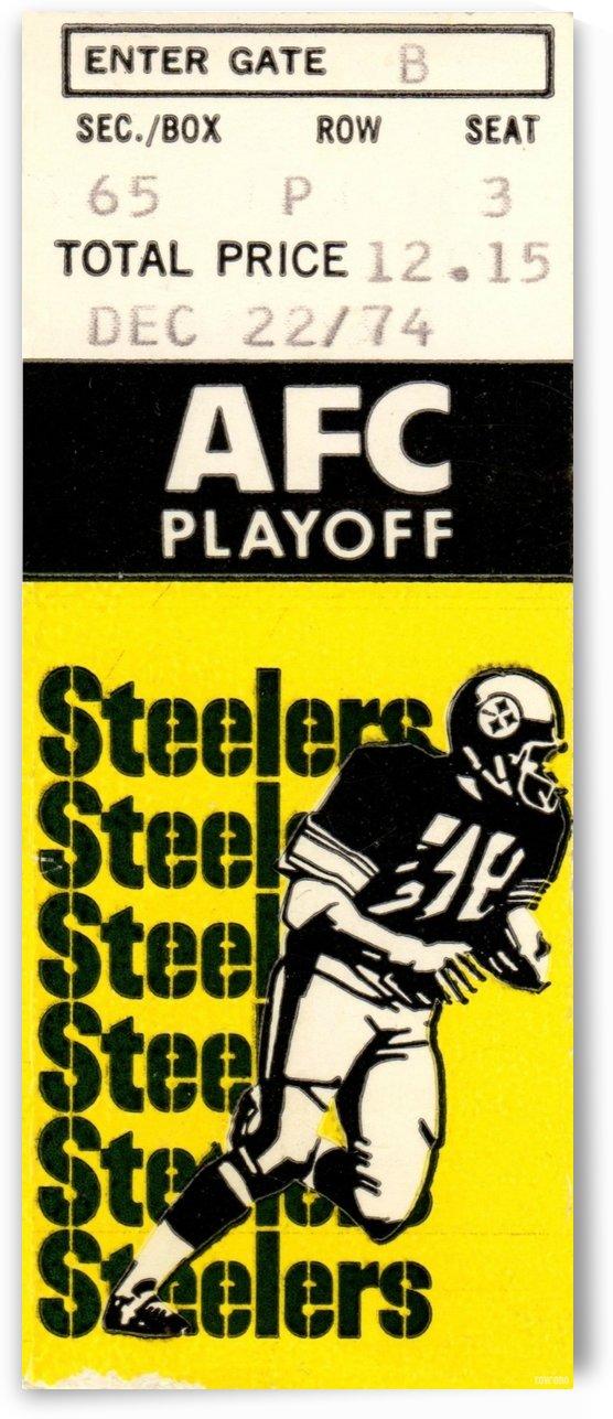 1974 Pro Football Season_AFC Playoff_Pittsburgh Steelers vs. Buffalo Bills_NFL Ticket Stub Art by Row One Brand