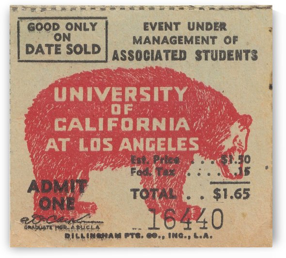 1937 UCLA University of California at Los Angeles Bruins College Football Ticket Stub Art by Row One Brand