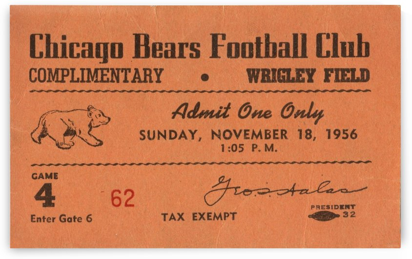 1956 National Football League_Chicago Bears_Wrigley Field Ticket Stub Art by Row One Brand