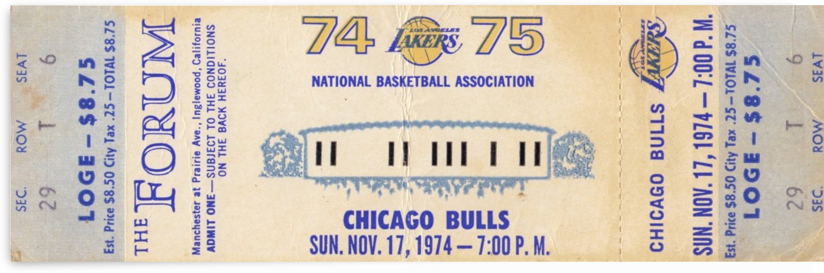 1974_National Basketball Association_Los Angeles Lakers vs. Chicago Bulls_The Forum_NBA Ticket Stub by Row One Brand