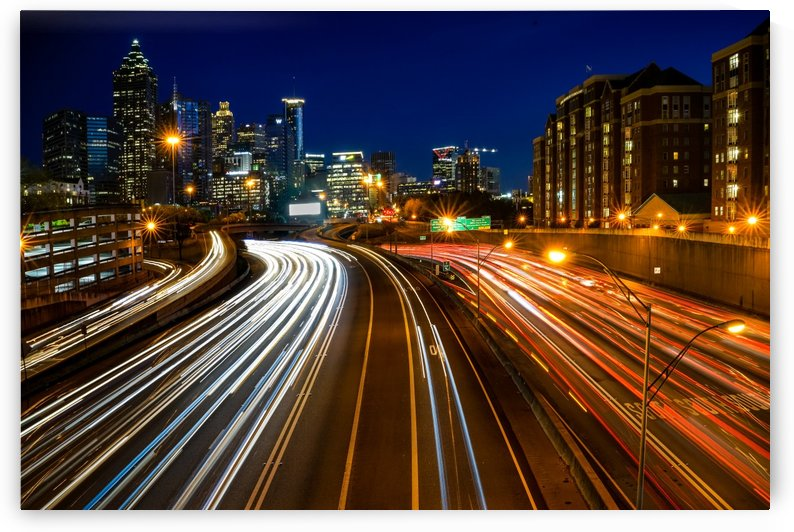 Atlanta GA Skyline and Interstate 75 85 at Night 3433 by @ThePhotourist