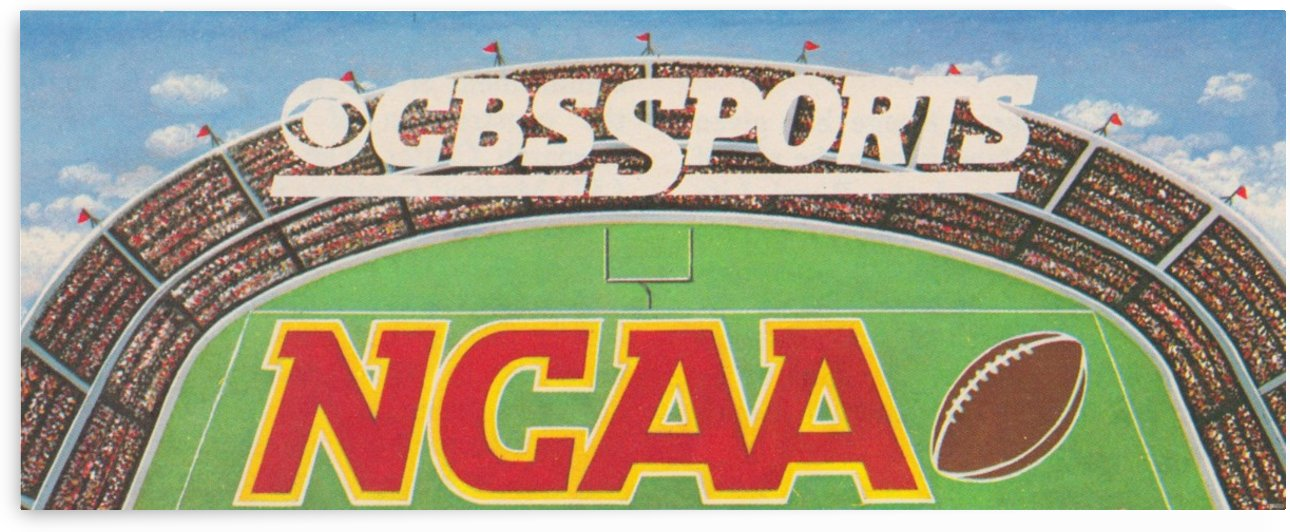 CBS Sports NCAA Football Ad Reproduction_Vintage Sports Ads_Retro 1980s Ad by Row One Brand