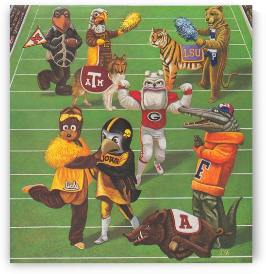 1984 College Football Mascot Art Reproduction Print_Mascot Artwork by Row One Brand