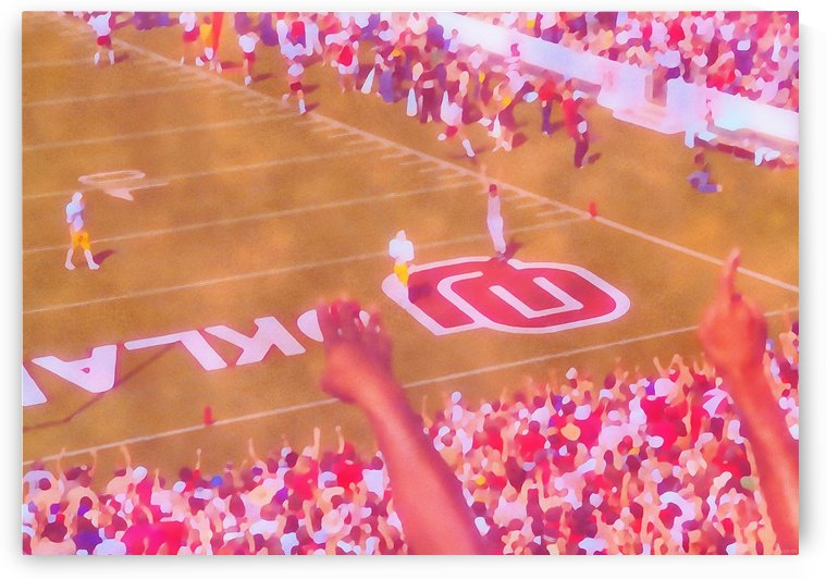 1980s Retro Oklahoma Football Owen Field OU Sooners Touchdown Art_Watercolor Style Sports Art by Row One Brand