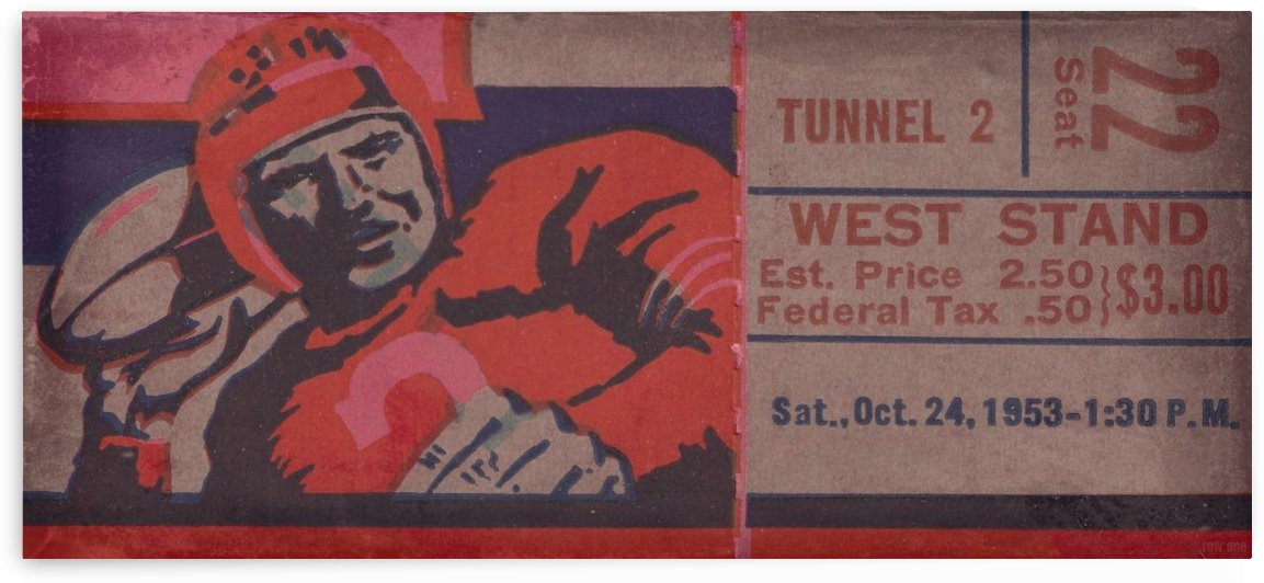 Vintage Football Art_Ticket Stub Reproduction Prints by Row One Brand