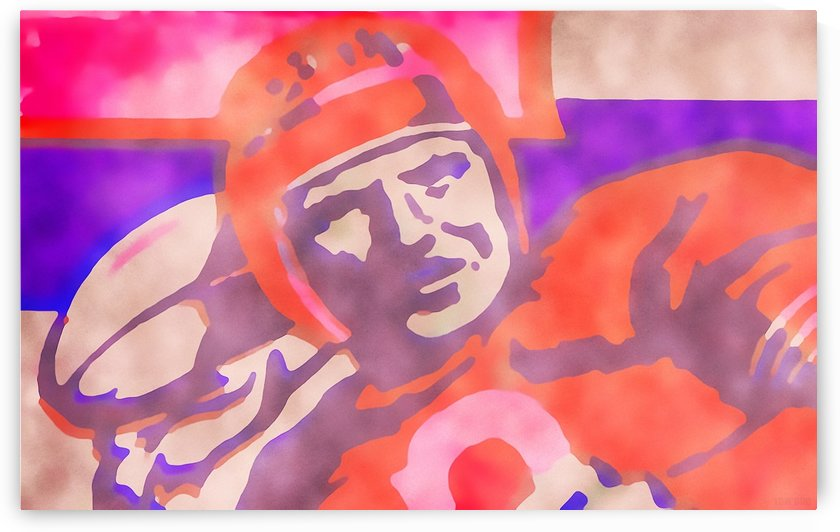 Vintage Quarterback Football Art_Watercolor Style Sports Art Print by Row One Brand