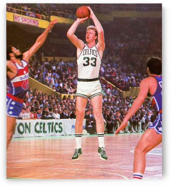 Larry Bird Photo_1982 Larry Bird Jump Shot Boston Celtics Sports Photograph Reproduction Art by Row One Brand