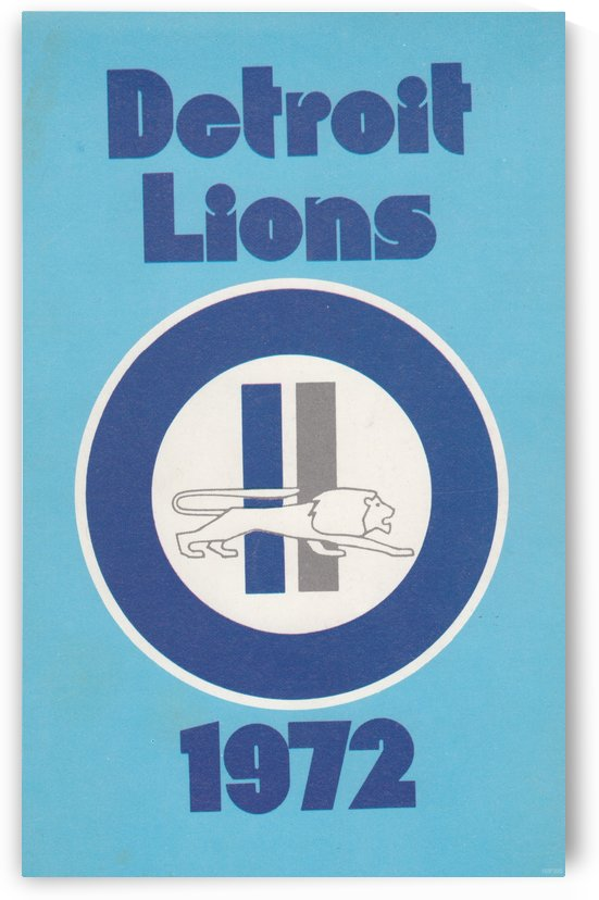 1972_National Football League_Detroit Lions Media Guide Cover Art Reproduction by Row One Brand