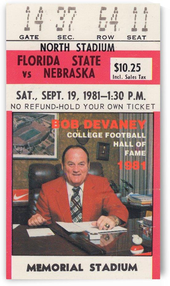 1981_College_Football_Nebraska vs. Florida State_Memorial Stadium_Bob Devaney_Ticket Stub Collection by Row One Brand