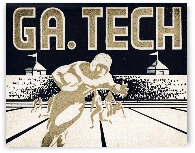 Vintage Georgia Tech Football Art_College Football Fine Art Print by Row One Brand