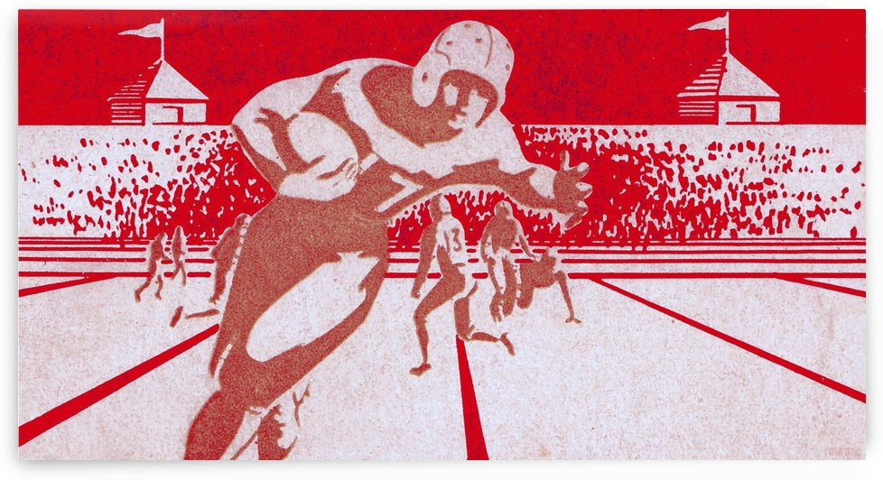 Red Wall Decor_Red Sports Art_Red Gridiron Poster by Row One Brand