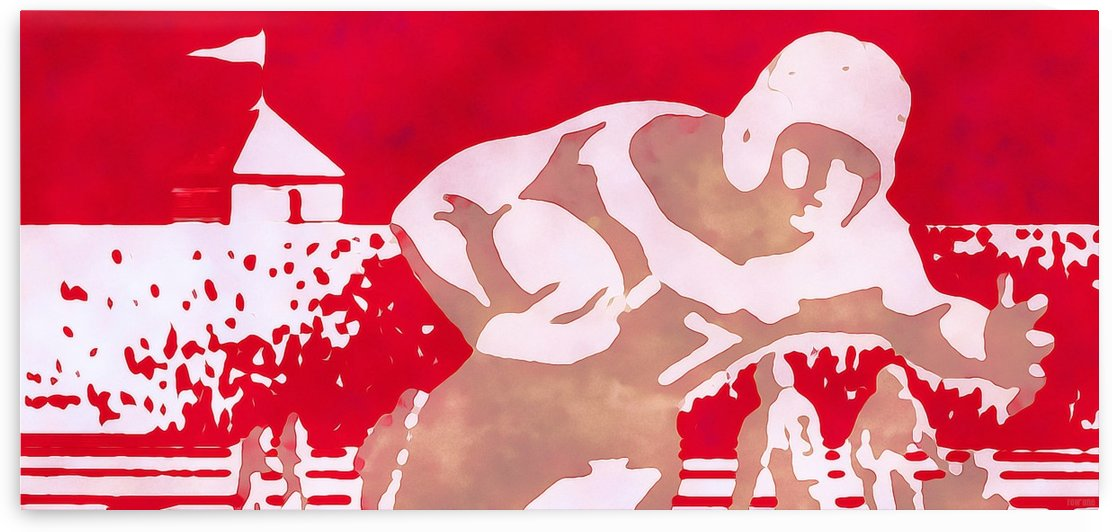 Red Wall Art Poster_Vintage Football Runner Artwork Print by Row One Brand