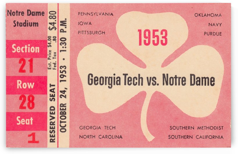 1953_College_Football_Notre Dame vs. Georgia Tech_Notre Dame Stadium_College Ticket Collection Art (1) by Row One Brand